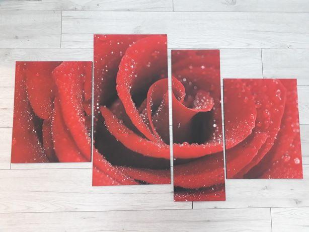 """Obraz """"kwiat róży"""" 4-ro częściowy 120cm."""