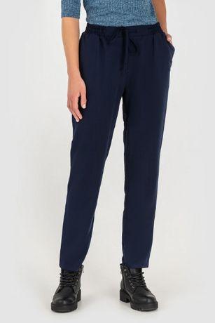 Синие прямые брюки с кулиской vovk