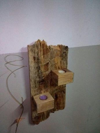 Floreira / Porta velas rústico de parede