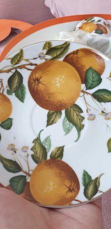 Zestaw filiżanek pomarańczowy motyw