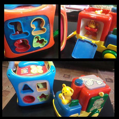 Развивающие игрушки, трактор, ковчег, куб, машинка