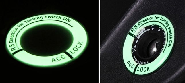 Naklejka luminescencyjna na stacyjkę auto moto quad ATV