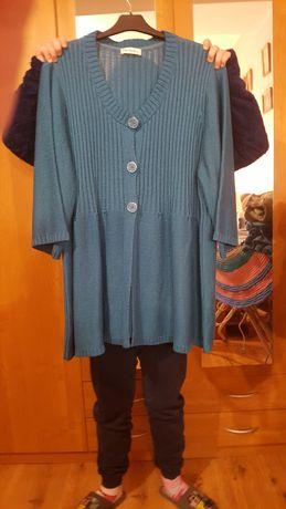 Sweter, kardigan w morskim kolorze, rozmiar 58, 60