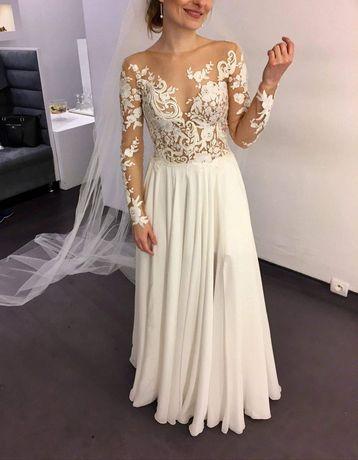 Suknia ślubna Milla Nova Magnolia S/ koronkowa/ muślinowa/ 162cm +6cm