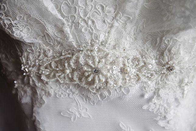 Suknia ślubna projektantki Małgorzaty Motas.