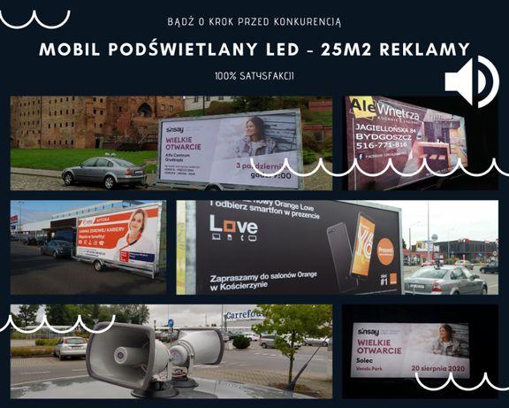 Reklama mobilna podświetlana LED - przyczepa, spot audio, GPS, 25 m2