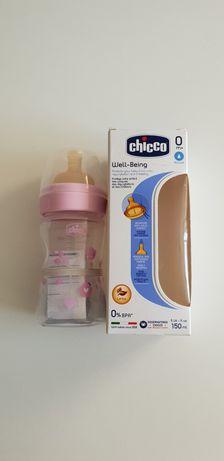 Бутылочка Chicco WELL-BEING, 150МЛ, Пластик, Соска латекс, 0M+