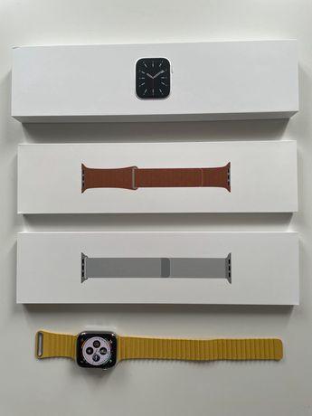APPLE Watch 6 Cellular GPS 44mm Srebrny bransoleta Pasek skórzany brąz