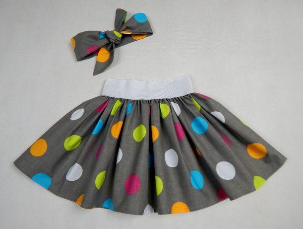 Spódnica w grochy kolorowe groszki spódniczka retro PRODUCENT