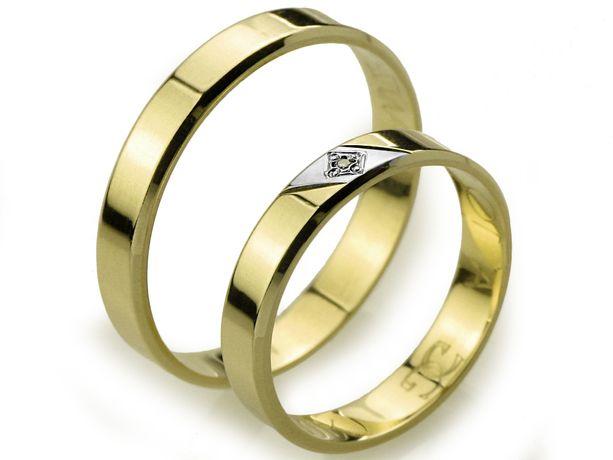 Goldrun Złote Obrączki Ślubne A010 Para Bezszwowe