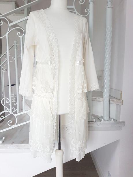 Narzutka bluza biała koronkowa rozm L