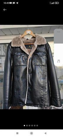 Мужская зимния кожанная куртка