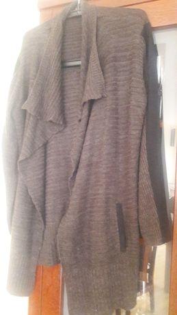 Kardigan brąz +czarny melanż L-XL ,narzutka,sweter kieszenie