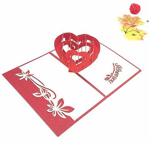 Объемная открытка сердце