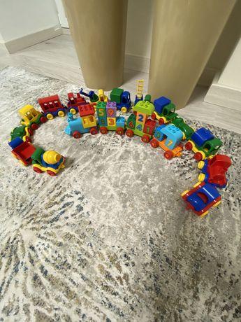 Паравозик Lego Duplo и машины Wader Kids car мини