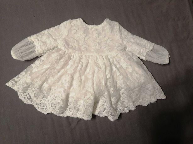 Sukienka na chrzest urodziny r. 62cm Reserved
