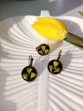Набор украшений с настоящими цветами, серьги, сережки, кольцо из эпокс