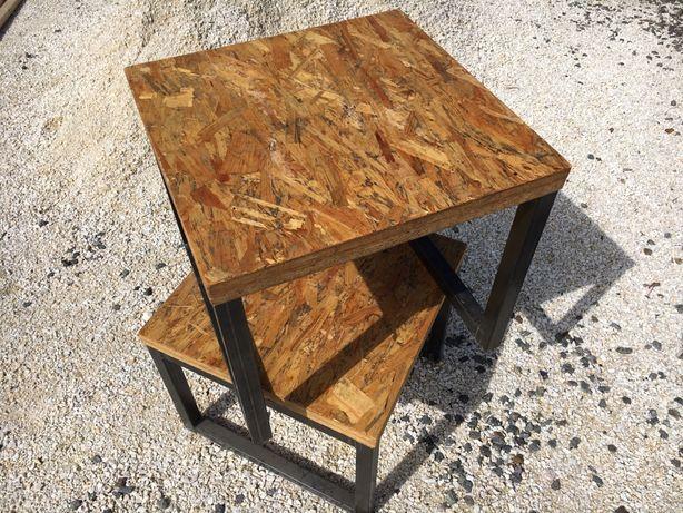 Stolik loft barn industrialny metalowy osb kawowy