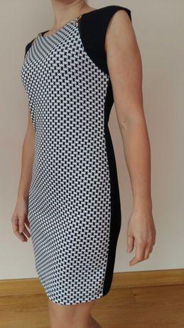 Sukienka rozm.M 95% bawełny czarno-biała,pepitka;różowa z koronką