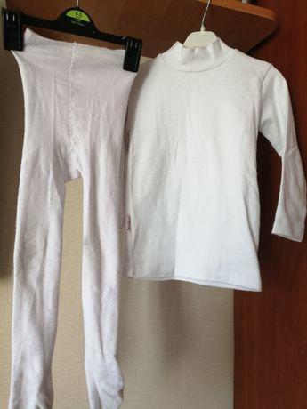 Белый гольф и белые колготки на 2 года