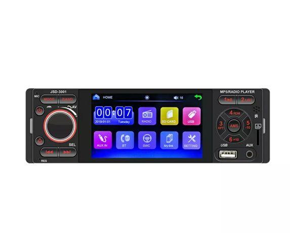 Rádio 1 Din ecrã tátil+GPS por mirrorlink+bluetooth+kit mãos livres