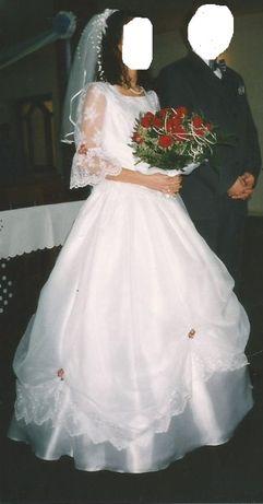 Śliczna suknia ślubna. Biała Koronki r.38