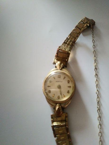 Pozłacany zegarek damski Perfex uszkodzony