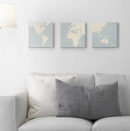 Ikea Pjatteryd Obraz 3 Szt Mapa Ziemi