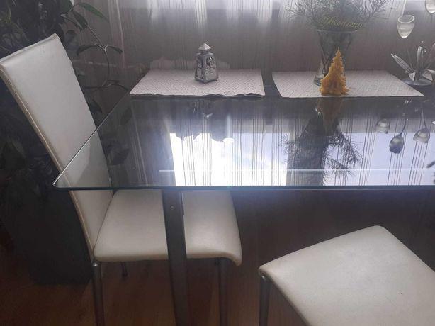 Piękny stół kryty szkłem + 4 krzesła w cenie