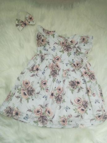 Śliczna sukienka newbie rozmiar 80 + opaska