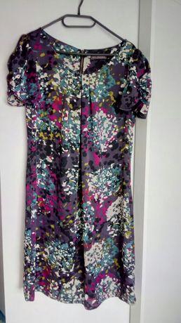 Sukienka kolorowa, różowa, fioletowa ciąża ciazowa, jesień elegancka