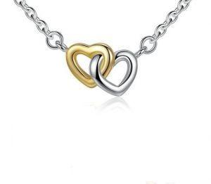Pandora - nowy naszyjnik serce przy sercu, srebro plus czyste złoto