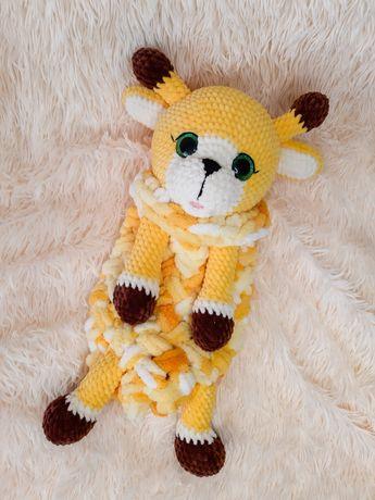 Вязанная игрушка Пижамница Жираф, игрушка крючком
