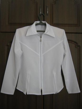 Белая рубашка на молнии / белая блуза на молнии