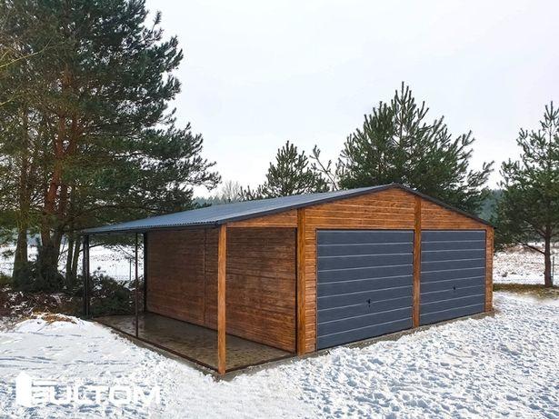 Garaż blaszany drewnopodobny z wiatą konstrukcja z profili GRATIS