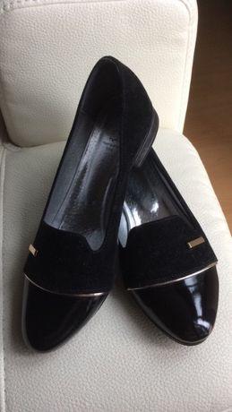 Czółenka pantofle damskie czarne eleganckie Romeo Rotti 37 NOWE