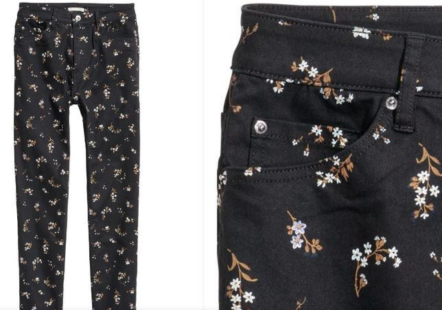 H&M śliczne spodnie w kwiaty jeansy - 36