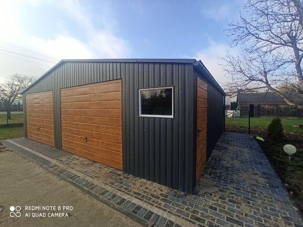 Garaż 8x6 w kolorze Bramy drewnopodobne dwuspadowy dach