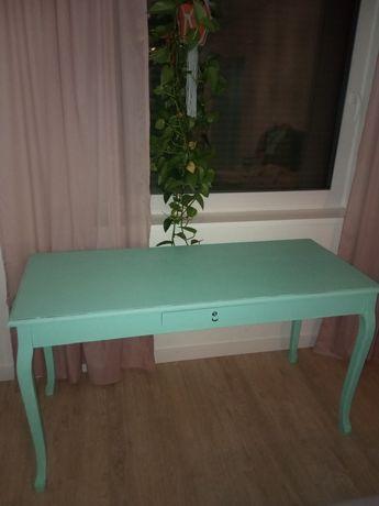 konsola, biurko kolor miętowy