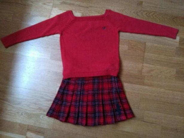 spódniczka h&m i sweterek polo, rozm. 4-5 lat