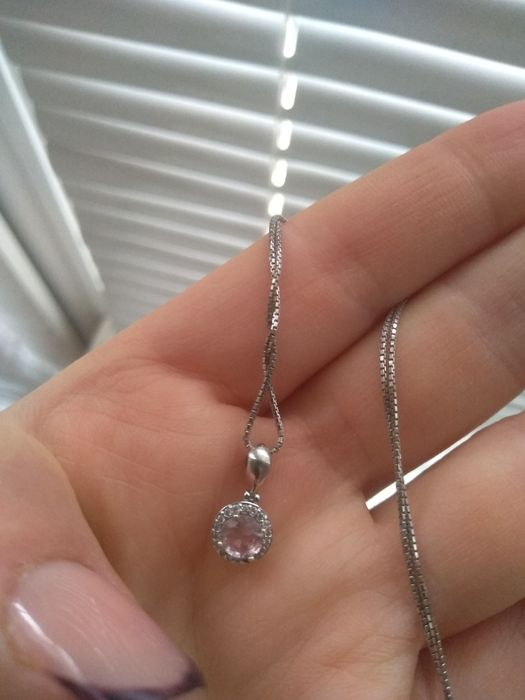 Набор серебро, подвеска и цепочка. С розовым камнем. Каменское - изображение 1