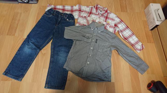 Zestaw jeans, koszula 110/116