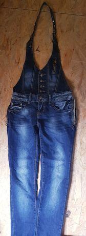 Jeansowe ogrodniczki na szyję
