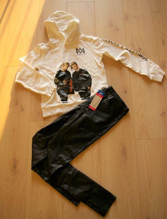 Bluza biała Marcus & Martinus H&M, spodnie czarne woskowane, rozm. 152 Ruda Śląska - image 1