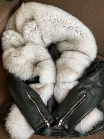 Косуха- парка чёрная натуральная кожа с мехом писец, зима