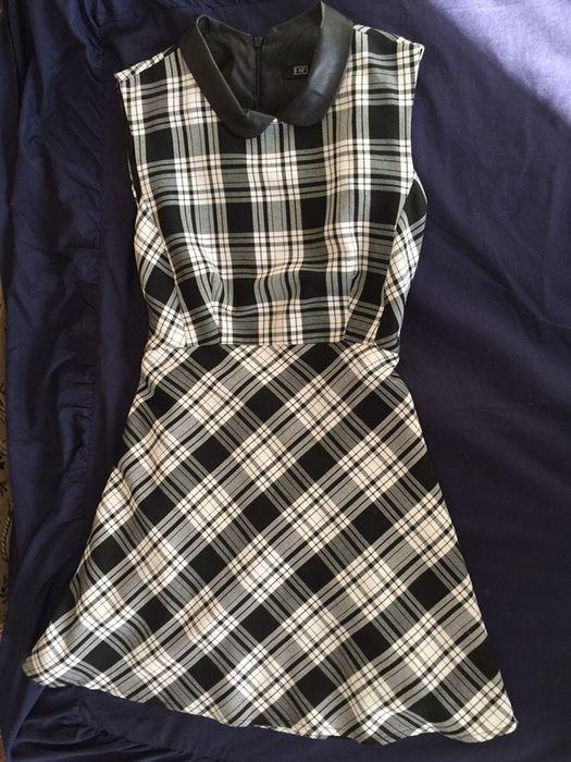 Платье с кожаным воротником. ТОРГ