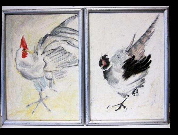 2 pinturas originais - galo + galinha - assinadas Maja Duarte