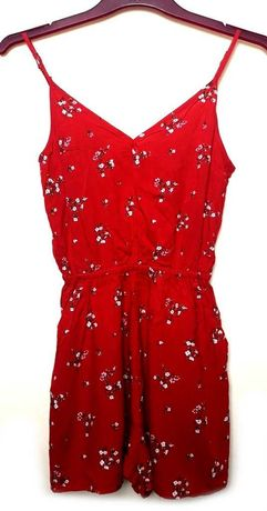 Kombinezon czerwony letni kwiatki H&M XXS 32