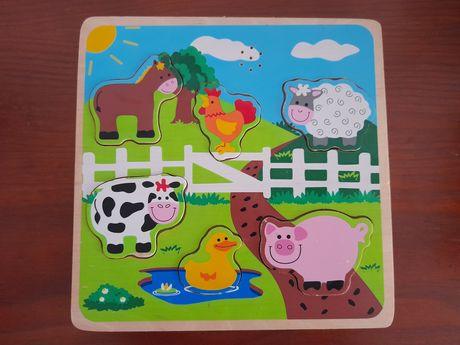 Puzzle madeira animais da quinta com som