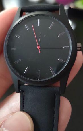 Zegarek męski czarny, matowy, skóra eko, nowy!